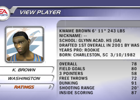 Kwame Brown in NBA Live 2002