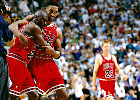 Michael Jordan & Scottie Pippen in The Flu Game, 1997 NBA Finals