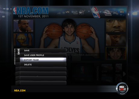 Export Team function in NBA 2K12