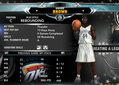 Kwame Brown Creating a Legend Home Screen in NBA 2K13