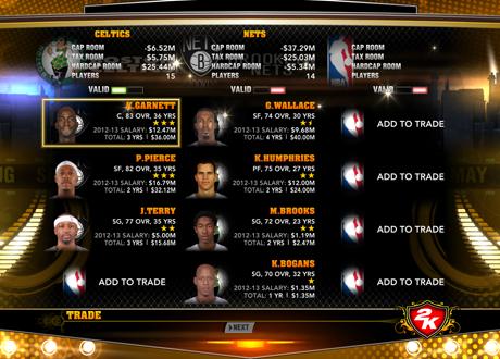 Trading in NBA 2K13's Association Mode