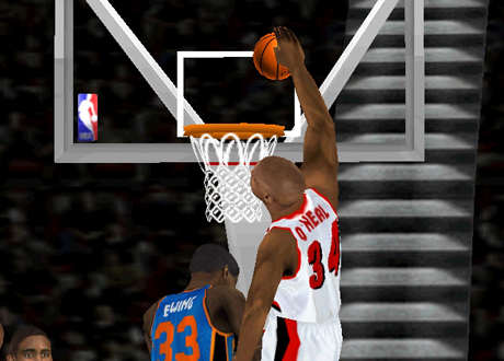 Shaquille O'Neal on the Trail Blazers in an NBA Live 2000 Franchise