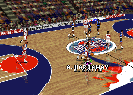 A steal attempt in NBA Live 96