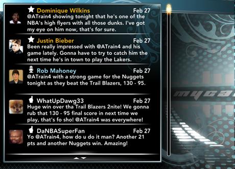 Fake Twitter in NBA 2K13's MyCAREER Mode
