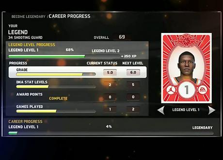 Become Legendary Career Progress in NBA Elite 11