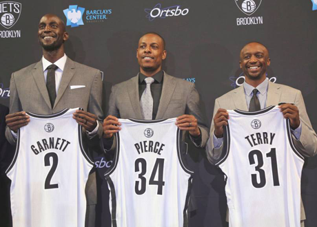 Kevin Garnett, Paul Pierce & Jason Terry Introduced in Brooklyn