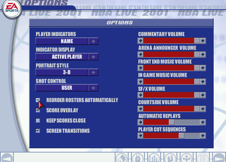 Options Menu in NBA Live 2001