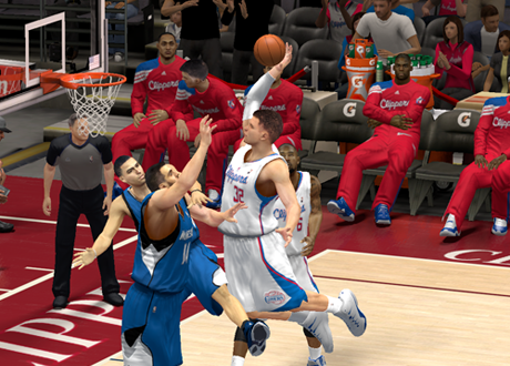 Blake Griffin dunks against the Minnesota Timberwolves in NBA 2K14 PC.