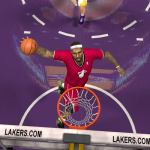 LeBron James dunks while wearing the Miami Heat's Christmas jersey in NBA 2K14 PC