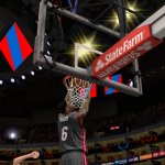LeBron James with the reverse dunk against the Clippers in NBA 2K14 PC