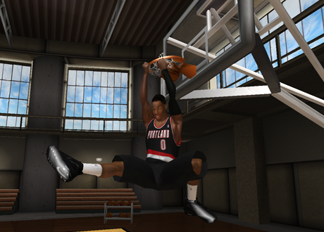Damian Lillard with the 540 dunk in NBA Live 08 PC