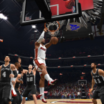 LeBron James dunks against the Spurs in NBA Live 14