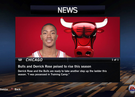 News screen in NBA Live 14's Dynasty Mode