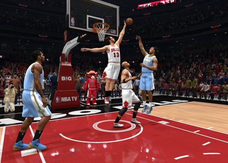 Joakim Noah blocks a shot in NBA Live 14