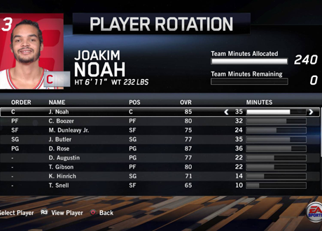 Player Rotation Menu in NBA Live 14's Dynasty Mode