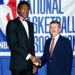 David Stern with Hakeem Olajuwon at the 1984 NBA Draft