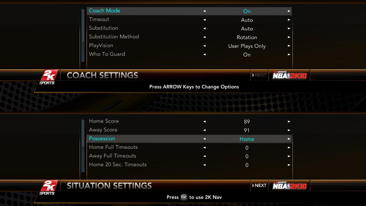 NBA 2K10 Coach and Situation Mode Settings