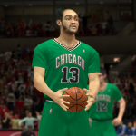 Joakim Noah wearing the Bulls' St. Patrick's Day jersey in NBA 2K14 PC