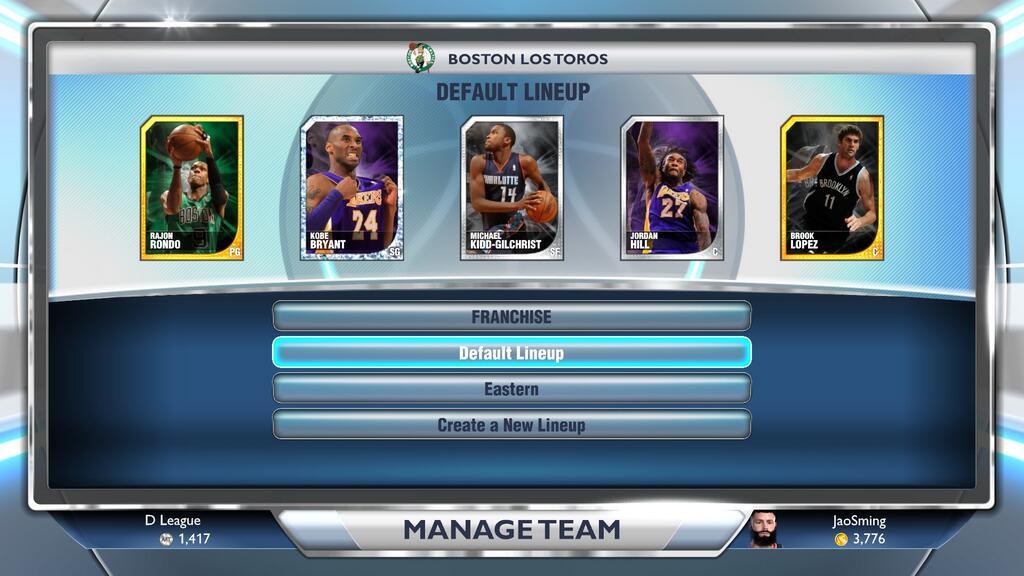 NBA 2K14 Jao's MyTEAM Lineup