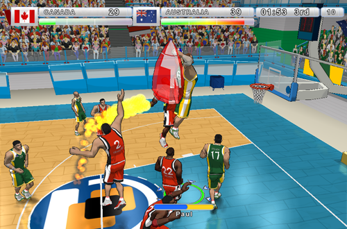 A jetpack dunk in Incredibasketball