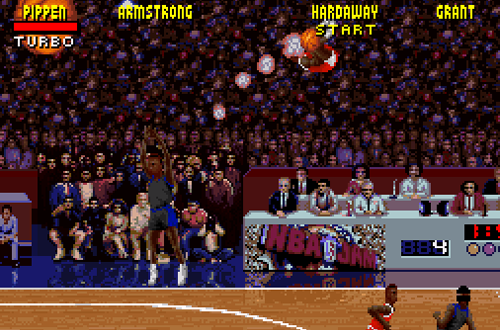 Full court dunk in NBA Jam Tournament Edition