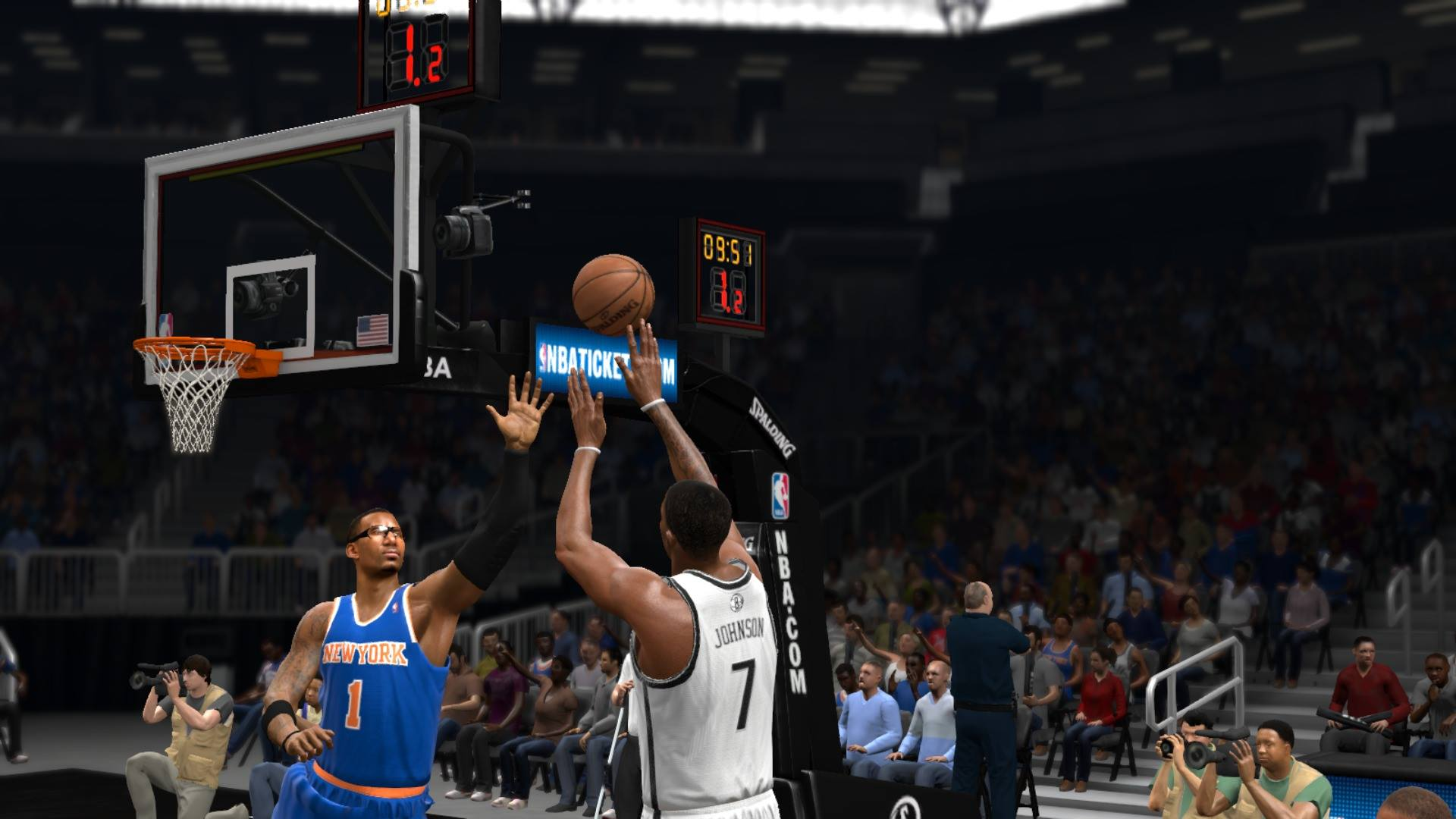Joe Johnson fires up a shot against the Knicks in NBA Live 14