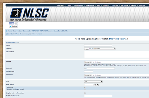 Uploading to the NLSC Downloads section