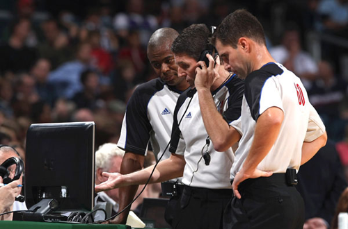 NBA Referees checking Instant Replay