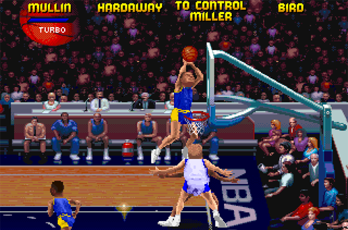 Chris Mullin dunking in NBA Jam Tournament Edition