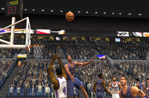 Kerry Kittles with the huge swat on Chris Webber in NBA Live 2003