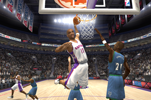 Vince Carter elevates for the dunk in NBA Live 2004