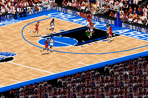Scottie Pippen dunks in NBA Live 95 PC
