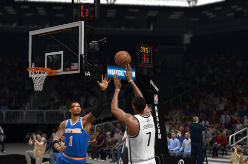 Joe Johnson taking on the New York Knicks in NBA Live 14