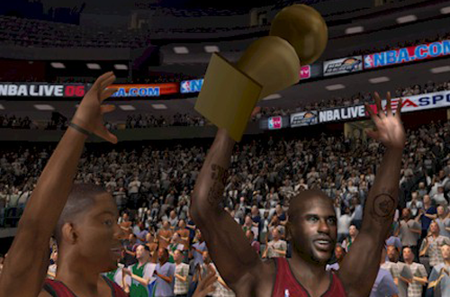 The Miami Heat win the championship in NBA Live 06