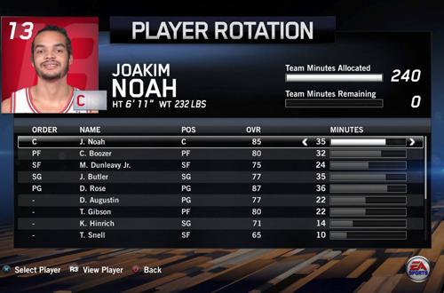 NBA Live 14's Player Rotation Menu