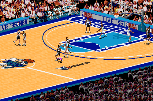 San Antonio Spurs vs. Charlotte Hornets in NBA Live 95