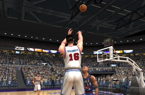 Challenge: Peja Stojakovic fires up a three in NBA Live 2003