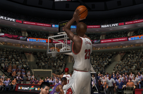Michael Jordan attempting a jumpshot in NBA Live 06 (NBA Live PC Rosters)