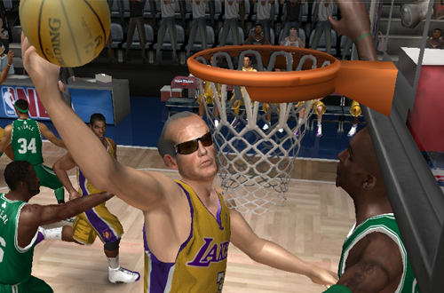 Jack Nicholson in the LIVE JAM mod for NBA Live 08