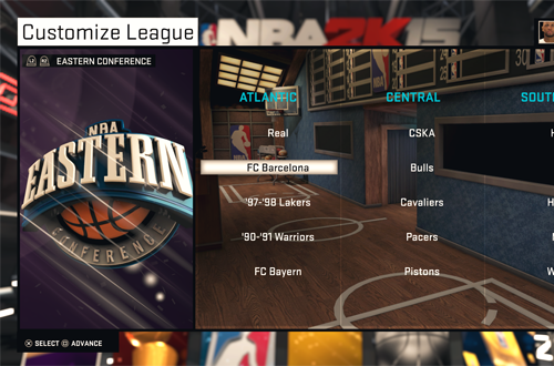 Customize League Menu in NBA 2K15's MyLEAGUE