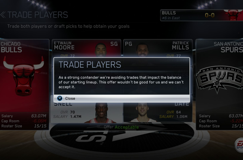 Trading Players in NBA Live 15's Dynasty Mode