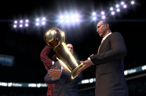 The Cleveland Cavaliers winning the championship in NBA Live 15