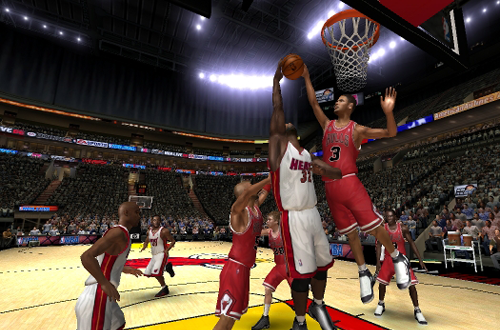 Tyson Chandler blocks Shaquille O'Neal in NBA Live 06