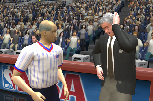 Phil Jackson chats with a referee in NBA Live 2003