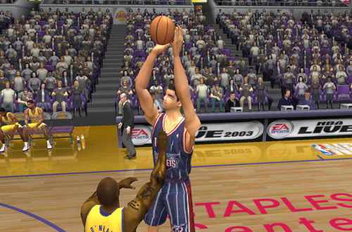 Yao Ming shoots a three in NBA Live 2003