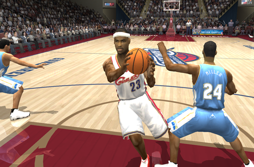 LeBron James drives the lane in NBA Live 2004