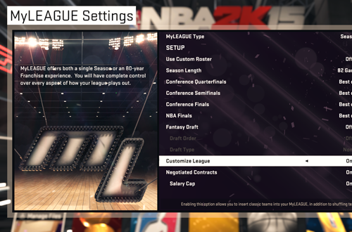 MyLEAGUE Settings in NBA 2K15