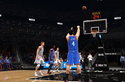 Nick Collison attempts a free throw in NBA Live 14