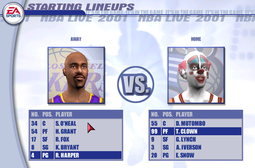 The Clown in NBA Live 2001
