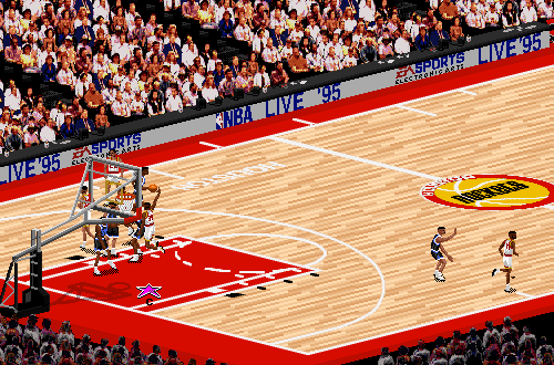 Hakeem Olajuwon dunks in NBA Live 95